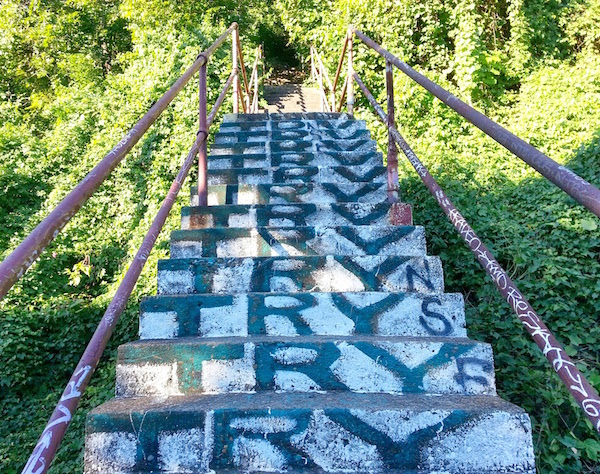 "City Steps with graffiti reading ""Try"" on every riser, Pittsburgh, PA"