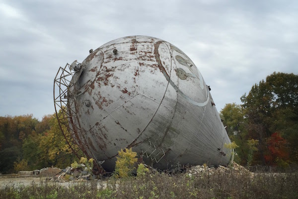 Westinghouse atom smasher laying on its side at the site of former Westinghouse research facility, Forest Hills, PA