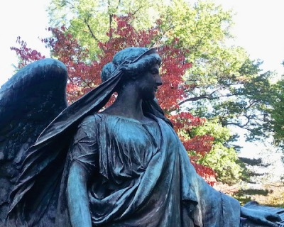 Bronze angel statuary at Homewood Cemetery, Pittsburgh, PA