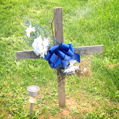 handmade grave with wooden cross, blue bow, and flowers, Highwood Cemetery, Pittsburgh, PA