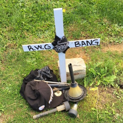 handmade grave with wooden cross, bandana, and Steelers hat, Highwood Cemetery, Pittsburgh, PA