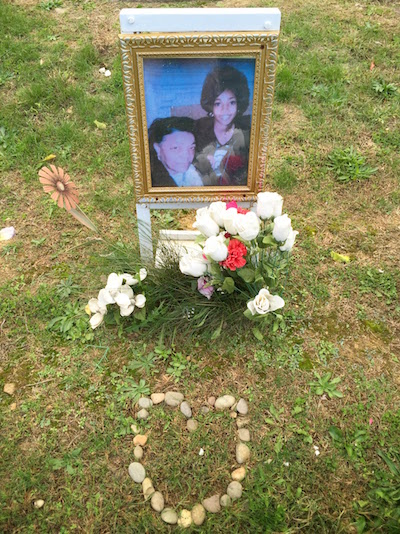 handmade grave with photograph, flowers, and stones in shape of a heart, Highwood Cemetery, Pittsburgh, PA