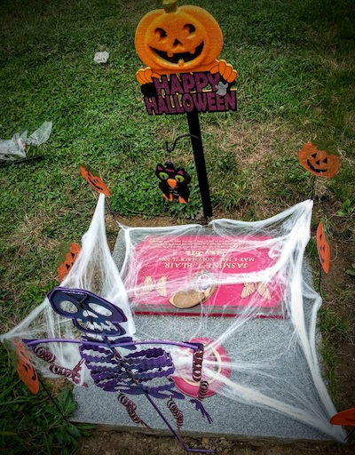 Grave decorated for Halloween, Allegheny Cemetery, Pittsburgh, PA
