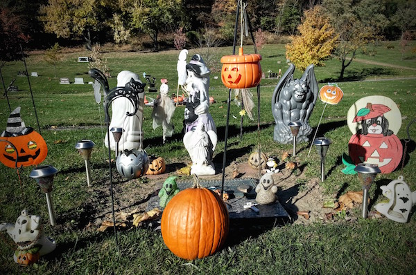 Graves decorated for Halloween, Allegheny Cemetery, Pittsburgh, PA