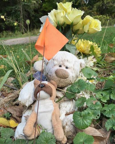 stuffed bear and stuffed dog with flowers