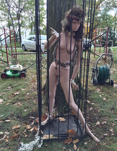 Lawn mower, chained, caged, naked, go-go mannequin, hose reel.