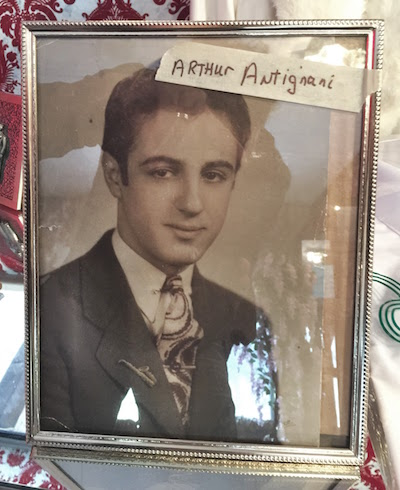 framed black and white photograph of Arthur Antignani as a young man