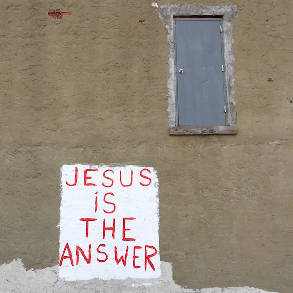 "wall painted with ""Jesus is the answer"", Pittsburgh, PA"