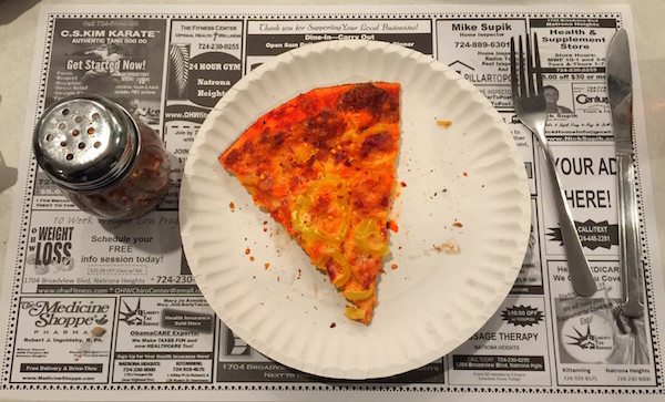 one slice pizza on paper plate with table setting & The Pizza Chase: Phillippi\u0027s Home of the \u201cBirdville Pie ...