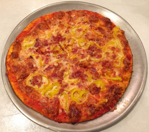 """Phillippi's """"Birdville Pie"""" with banana peppers and bacon"""