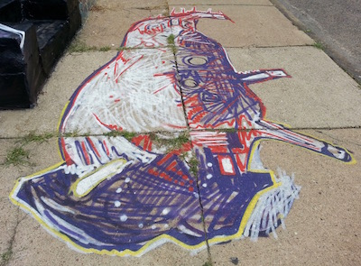 sidewalk painting of purple, red, and white buffalo