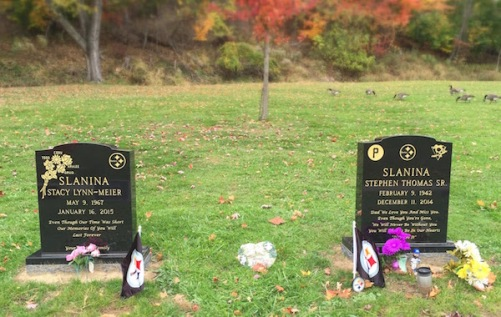 matching graves with Steelers logo, Allegheny Cemetery, Pittsburgh, PA