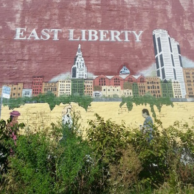 mural of the East Liberty neighborhood of Pittsburgh painted on brick wall of former Yen's Gourmet restaurant, Pittsburgh, PA