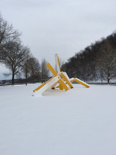 """John Raymond Henry """"Pittsburgh"""" sculpture (aka """"The French Fry sculpture"""") in snow, Frank Curto Park, Pittsburgh, PA"""
