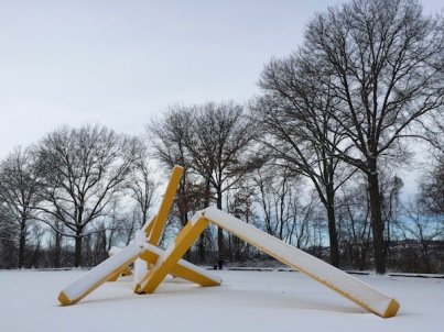 "John Raymond Henry ""Pittsburgh"" sculpture (aka ""The French Fry sculpture"") in snow, Frank Curto Park, Pittsburgh, PA"