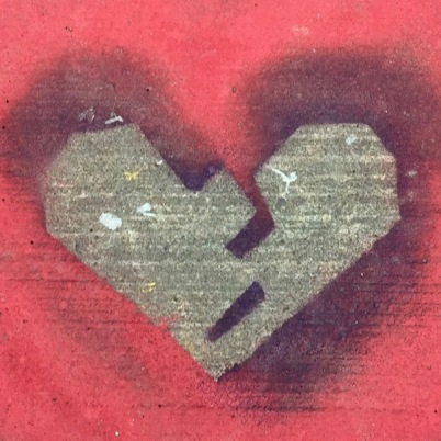 spray painted heart stencil