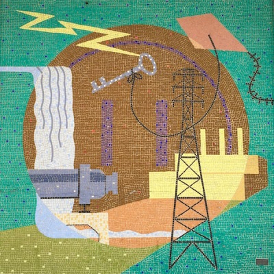 tile mosaic depicting various industry and innovation from commercial building in Bloomfield, Pittsburgh, PA