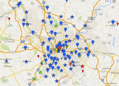 screen capture of 2016 Lenten Fish Fry Map