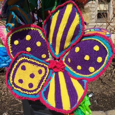 Detail of giant purple and yellow knitted flower as part of Pop des Fleurs, Pittsburgh, PA