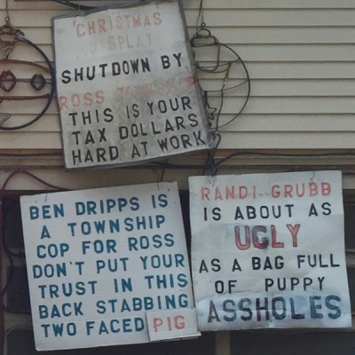 handmade protest signs on house, Ross Township, PA
