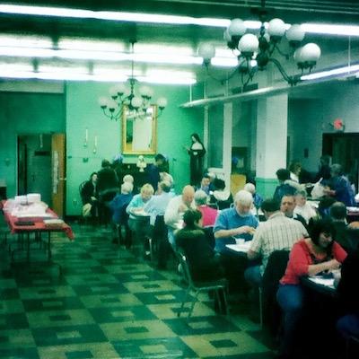 fish dinner in former St. John Vianney church, Pittsburgh, PA