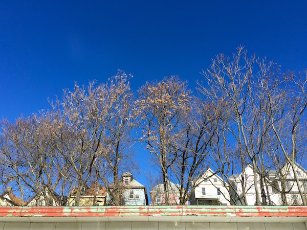 older frame houses with clear blue sky and bare trees, Pittsburgh, PA