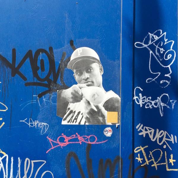 wheat paste street art of Roberto Clemente, Pittsburgh, PA