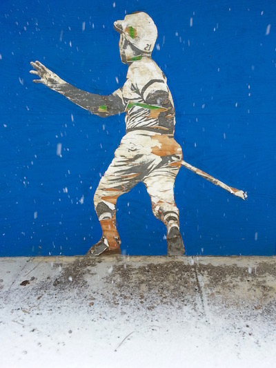 wheat paste street art of Roberto Clemente, Pittsburgh, PA