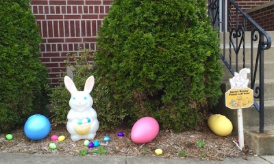 front stoop display of Easter bunny and eggs