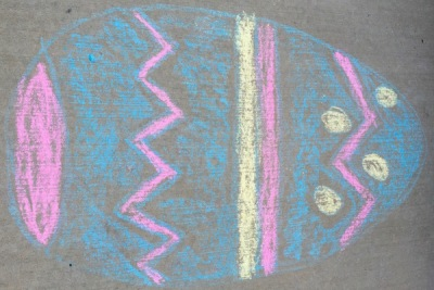 sidewalk chalk drawing of Easter egg, Pittsburgh, PA