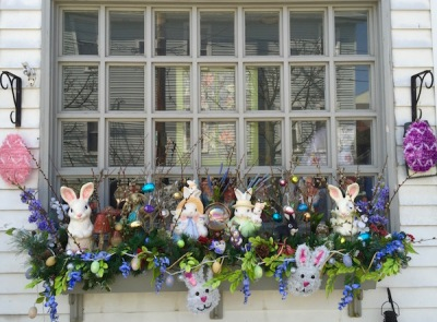window flower box display with bunnies and eggs, Pittsburgh, PA
