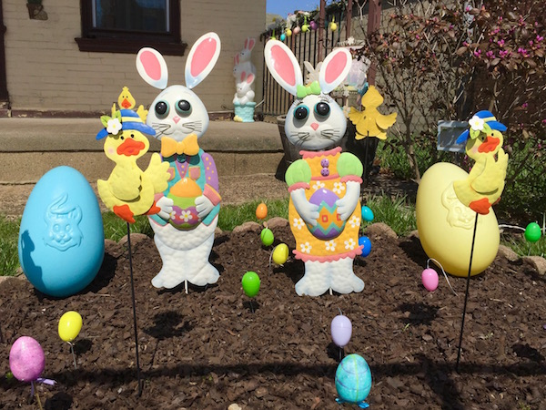 front yard display with Easter bunnies and eggs, Pittsburgh, PA
