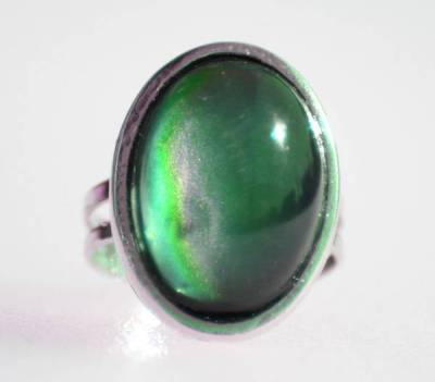 close-up of green mood ring