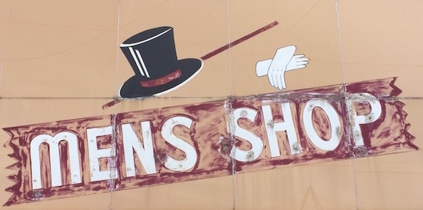 Detail from the hand-painted storefront of the Mount Oliver Mens Shop, Pittsburgh, PA