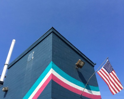 detail of Pressure Chemical plant with American flag, Pittsburgh, PA