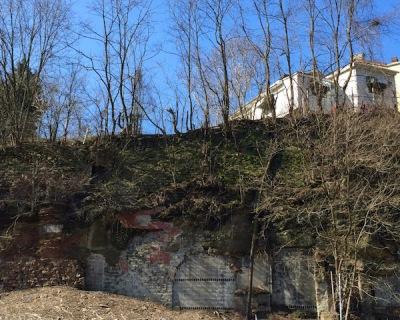 Hillside with embedded bricks and cinderblocks, Pittsburgh, PA