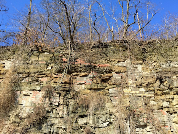 Hillside with embedded bricks and cinderblocks, Pittsburgh, PA