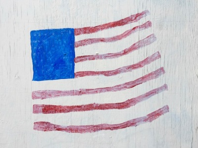 Child's painting of American flag on painted plywood
