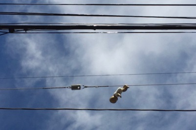 golden baby, electric lines, and sky, Pittsburgh, PA