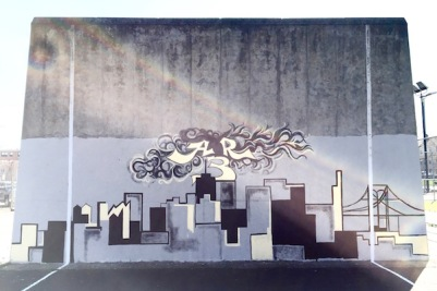 city skyline painted on concrete tennis practice wall, Pittsburgh, PA