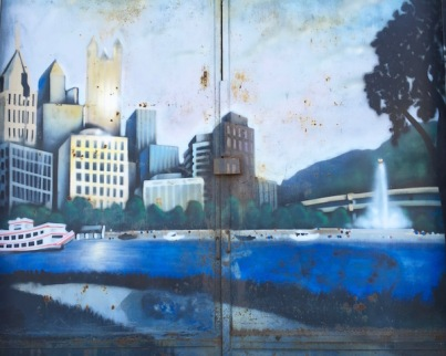 Airbrush painting of the Pittsburgh skyline seen from the North Side