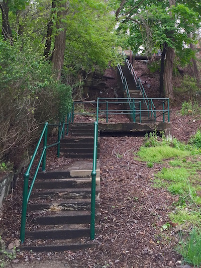 Bottom entrance to the 54th Street city steps, Pittsburgh, PA