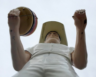 "looking up at the giant fiberglass cowboy known as ""Sam"", Cadet Restaurant, Kittanning, PA"