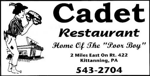 "Cadet restaurant placemat advertisement proclaiming ""Home of the 'Poor Boy'"""