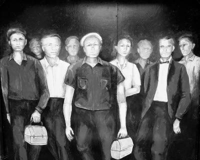 Mural depicting workers with lunch pails emerging through the pedestrian tunnel to PPG's Ford City, PA plant