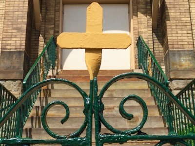 Detail of cross on St. Michael's Orthodox Church entrance gate, Rankin, PA