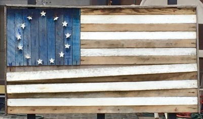 homemade American flag made from painted wooden slats, Pittsburgh, PA