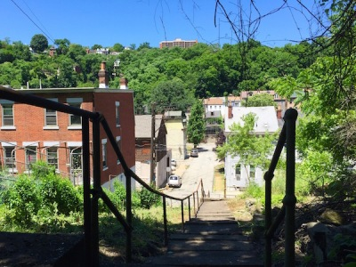 View of the Spring Garden neighborhood from the Basin Street city steps, Pittsburgh, PA