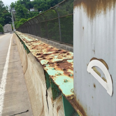 protractor glued to lamp post base, Swinburne Bridge, Pittsburgh, PA
