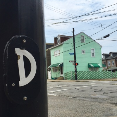protractor glued to light pole, Pittsburgh, PA